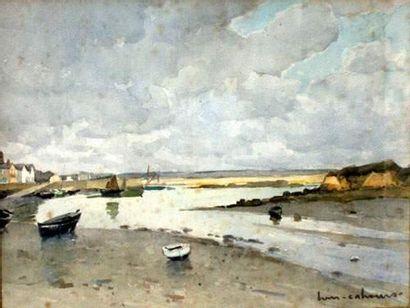 Henry-Maurice CAHOURS (1889-1954) Marée basse en Bretagne Aquarelle. Signé en bas...