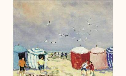 Jacques BOUYSSOU (1926-1997) Les tentes Huile sur toile. Signé en bas à gauche....
