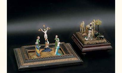 Scène de Crucifixion en verre filé ; cinq...