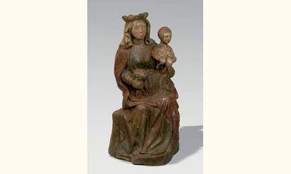 Vierge à l'Enfant assise, en bois de résineux...