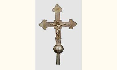 Exceptionnelle croix processionnelle en argent...