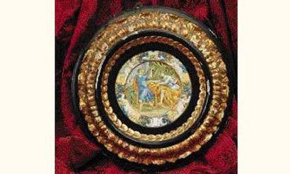 CASTELLI : Petit plat rond décoré en polychromie...