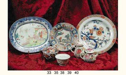 CHINE/COMPAGNIE DES INDES : Plat ovale décoré...