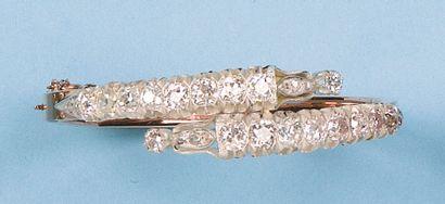 Bracelet croisé en or jaune et argent serti...