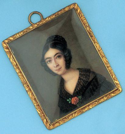 Miniature représentant une jeune femme. Cadre...