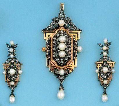 Parure en or jaune et argent ornée de perles...
