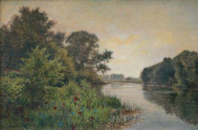 MATHIEU Gabriel (1843-1921) « La Marne » Huile sur toile. Signée en bas à gauche....