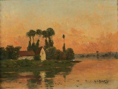 DELPY Henri Jacques (1877-1957) « Pêcheurs au bord de la rivière » Huile sur panneau....