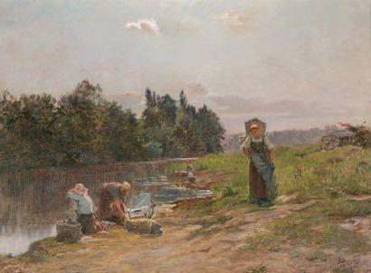 BEAUVERIE Charles Joseph (1839-1923) « Lavandières en bordure de rivière » Huile...