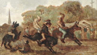 TROYON Constant (1810-1865) « Le mai : la fête du maire » Huile sur panneau. Signée...