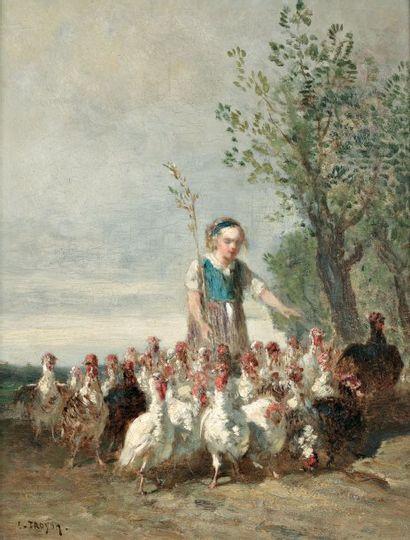 TROYON Constant (1810-1865) « La jeune gardienne de dindons » Huile sur panneau parqueté....