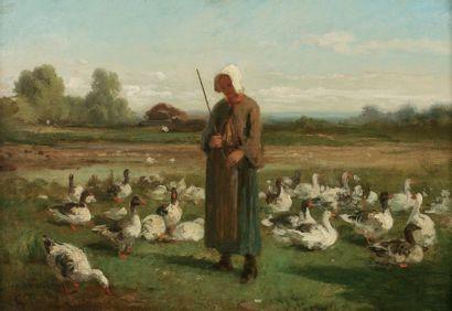TROYON Constant (1810-1865) « La gardienne d'oies » Huile sur panneau. Monogrammée...