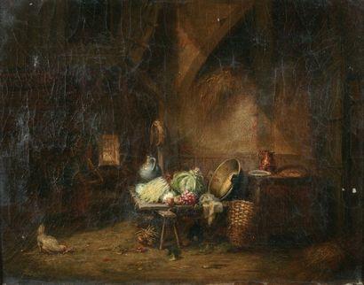 CHONE Georges (né en 1819) « Intérieur de ferme » Huile sur toile. Signée en bas...