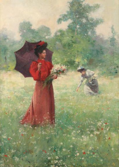 TESSIER Louis Adolphe (1855-1911) « La cueillette des fleurs » Huile sur toile réentoilée....