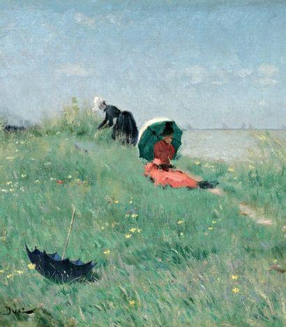 DUEZ Ernest Ange (1843-1896) « Elégantes à l'ombrelle à Villerville, au loin la régate...