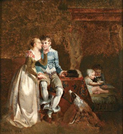 BARON Henri Charles Antoine (1816-1885) « Intimité » Huile sur panneau. Signée en...