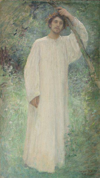 COLLIN Louis Joseph Raphael (1850-1916) « Méditation » Huile sur toile. Signée en...