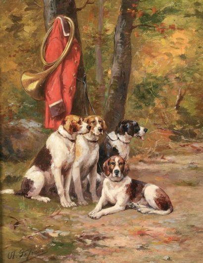 DE PENNE Olivier (1831-1897) « Relais de chiens anglo-tricolores, veste rouge de...
