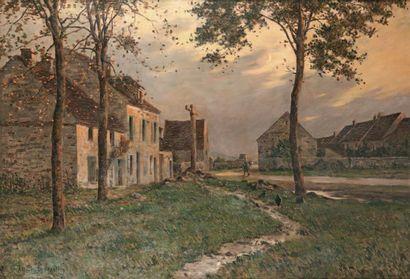 GOSSELIN Ferdinand Jules Albert (1862-XIXe) « La vie à la ferme » Huile sur toile....