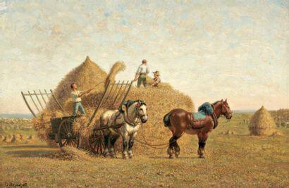 VEYRASSAT Jules Jacques (1828-1893) « La charrette de foin » Huile sur toile. Signée...