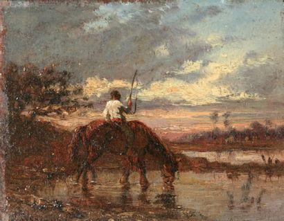 VEYRASSAT Jules Jacques (1828-1893) « Le palefrenier » Huile sur panneau. Signée...