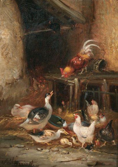 GUILLEMINET Claude (1821-1860) « La basse-cour » Huile sur toile. Signée en bas à...