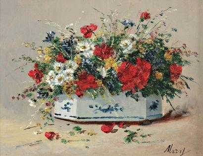 CAUCHOIS Eugène Henri (1850-1911) Deux oeuvres « Jardinières Fleuries » Huile sur...