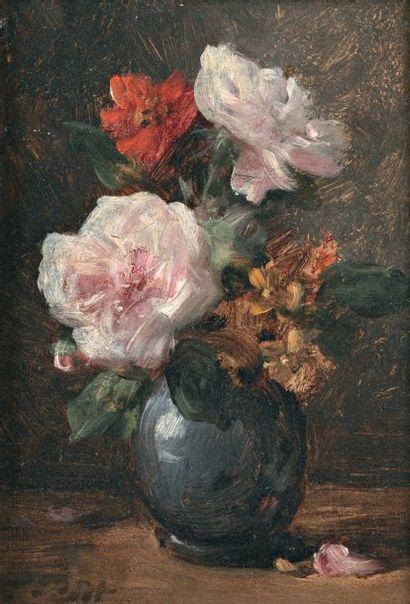 PETIT Eugène (1839-1886) « Roses et giroflées » Huile sur panneau. Signée en bas...