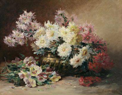 COPPENOLLE Edmond Van (1846-1914) « Bouquet de fleurs sur un entablement » Huile...