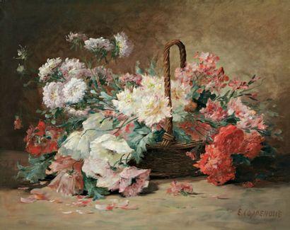 COPPENOLLE Edmond Van (1846-1914) « Panier de fleurs d'été » Huile sur toile. Signée...