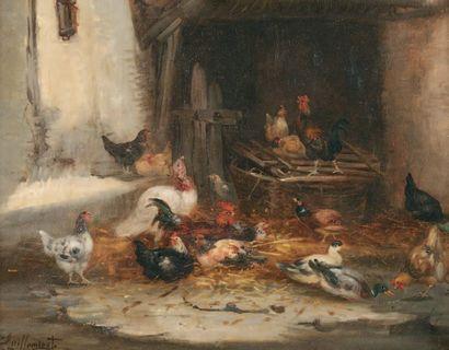 GUILLEMINET Claude (1821-1860) « Le Poulailler » Huile sur panneau. Signée en bas...