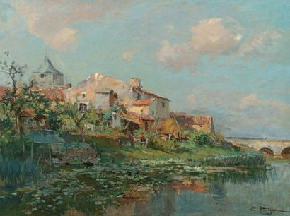PETITJEAN Edmond (1844-1925) « Village sur les bords de la Charente » Huile sur toile....