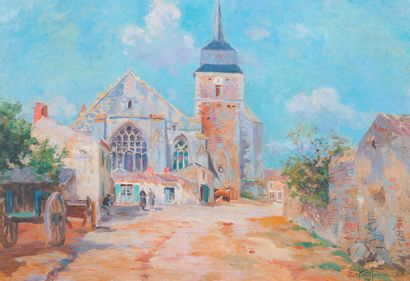 PETITJEAN Edmond (1844-1925) « L'église D'Olonne sur mer » Huile sur toile. Signée...