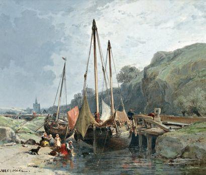 NOEL Jules (1815-1881) « Lavandières et bateaux de pêche en Normandie » Huile sur...