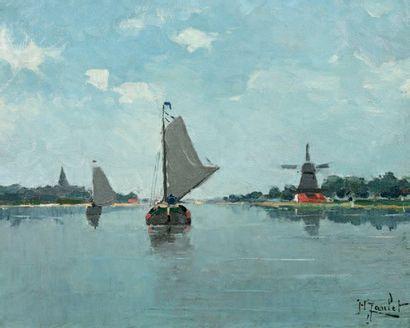 JANLET Henry (1857-1937) « Bateaux près de Dordrech » Huile sur toile. Signée en...