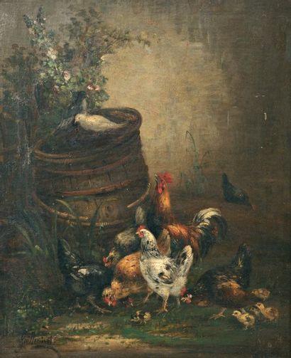 GUILLEMINET Claude (1821-1860) « La basse-cour fleurie » Huile sur toile. Signée...