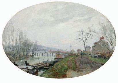 CALS Adolphe-Félix (1810-1880) « Bord de l'Oise » Huile sur toile dans un ovale....