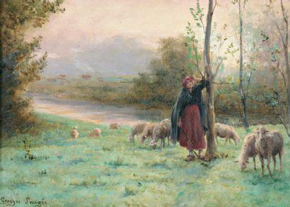 LAUGEE Georges François Paul (1853-XIXe) « Bergère et son troupeau » Huile sur toile....