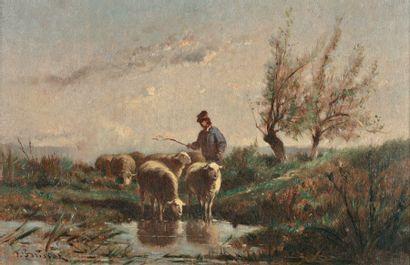 BRISSOT DE WARWILLE Félix Saturnin (1818-1892) « Berger et moutons à la mare » Huile...