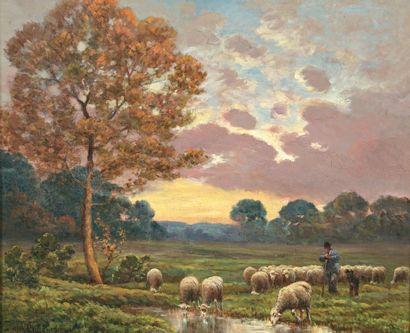 CHAIGNEAU Paul (XIX-XXe) « Berger et son troupeau, plaine de Chailly » Huile sur...