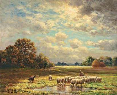 CHAIGNEAU Paul (XIX-XXe) « Le père Chicorée et son troupeau à Chailly » Huile sur...