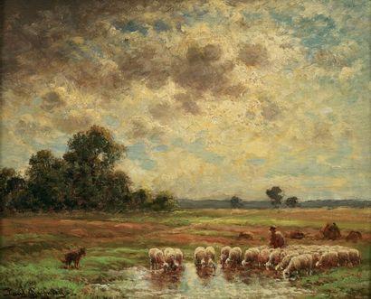 CHAIGNEAU Paul (XIX-XXe) « Le troupeau et le Père Chicorée » Huile sur panneau. Signée...