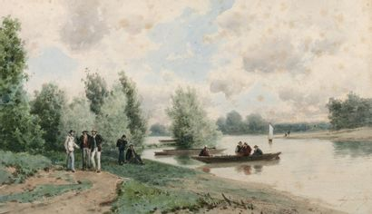 CICERI Eugène (1813-1890) « Promeneurs en barque au bord du Loing » Aquarelle. Signée...