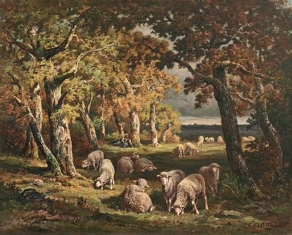 CERAMANO Charles Ferdinand (1829-1909) « A l'orée de la forêt de Fontainebleau »...
