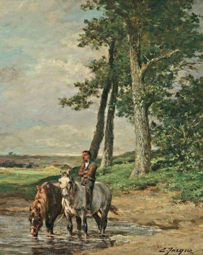 JACQUE Emile (1848-1912 ) « Les chevaux à la rivière » Huile sur toile. Signée en...