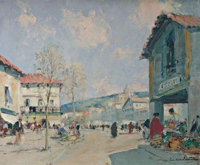 LECOMTE Paul Emile (1877-1950) « Scène de rue orientale » Huile sur toile. Signée...