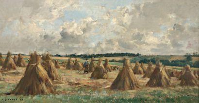 DAMOYE Pierre Emmanuel Eugène (1847-1916) « Les noyettes » Huile sur panneau. Signée...