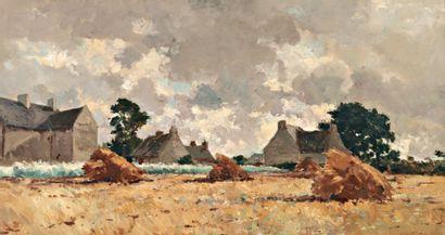 DAMOYE Pierre Emmanuel Eugène (1847-1916) « Les meules après la moisson » Huile sur...