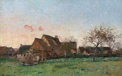 PELOUSE Léon Germain (1838-1891) « Barbizon, derniers rayons du jour » Huile sur...