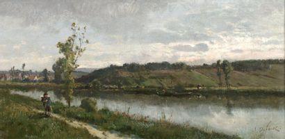 DEFAUX Alexandre (1826-1900) « Bord de rivière, le Garde Pêche » Huile sur toile....